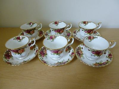 6 Royal Albert Old Country Roses Cups & Saucers  - 2nds