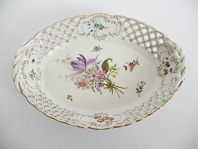 Meissen Reticulated Basket With Hand Painted Flower & Insect Decoration