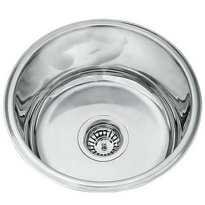 Kitchen Sink Single 1.0 Round Bowl Undermount Stainless Steel Utility Room L45A