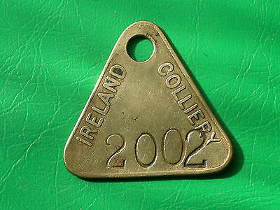 Ireland colliery brass embossed pit check miners coal mining lamp token tally
