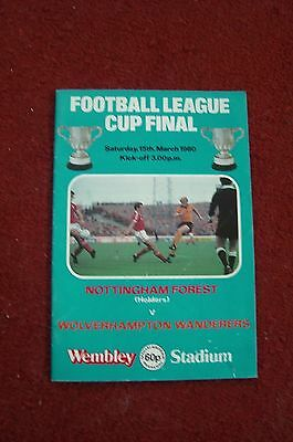 Football League Cup Final 1980 Forest v Wolves Programme