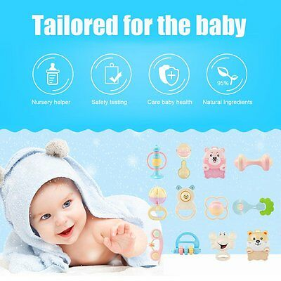 8/10/12 X Infant Babys Teether Rattles Environmental Protecting Shaking Bell RAU