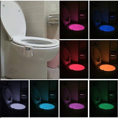 Auto-sensing LED Toilet Nightlight Motion Activated Home Bathroom Light Lamp RAU