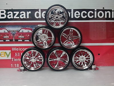 1:18 LLantas cromadas tuning a elegir 6 modelos 39 mm Rims choose 6 model -3L050