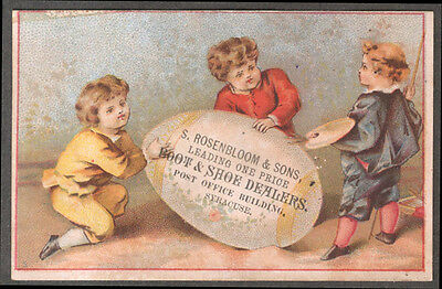 S Rosenbloom Boot & Shoe Dealers Syracuse NY trade card kids paint egg 1880s