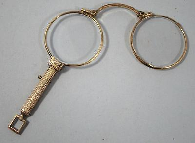 STUNNING VICTORIAN ANTIQUE GOLD PLATE LORGNETTES spectacles quizzing eye glasses