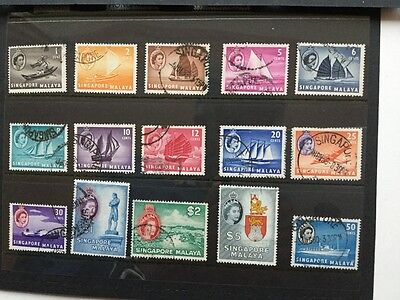 Stamps of Singapore definitive set of 15 1955,fine used
