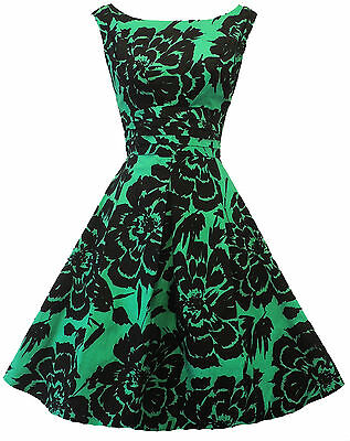 New Vintage Nostalgia 1940's WW 2 style Black Green Floral Tea  Dress UK 8