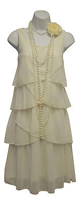 Retro 1920's Ivory Gatsby Deco Downton Charleston Chiffon Flapper Dress UK 10