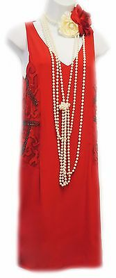 New Retro 1920's Red Deco Beaded Gatsby Downton Flapper Party Dress  UK 12