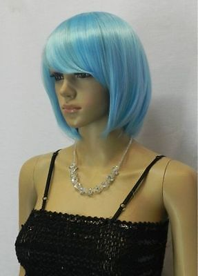 new blue short straight cosplay full wig +gift