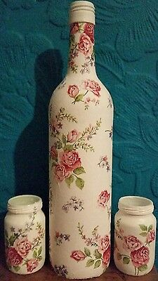 Vintage / Shabby Chic Decoupaged Bottle & Jars - Pink Roses