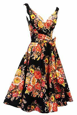 "Retro 1940s 1950s style Black Floral ""English Rose"" Swing Tea Dress UK 8"