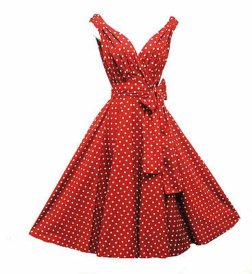 New Retro 1940s 1950s Vtg style  Red Polka Dot Full Skirted Swing Dress UK 14