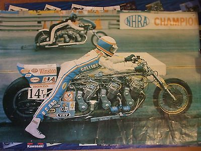 Large Original Russ Collins poster 1975 1000mm X 620mm drag racing motorcycle's