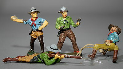 4 alte Elastolin Massefiguren 7,5 cm Wildwest Cowboys # 461