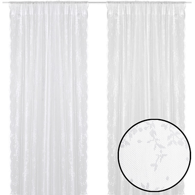 Set of 2 Romantic Net Curtains with Flowers 140 x 225 cm White Machine Washable