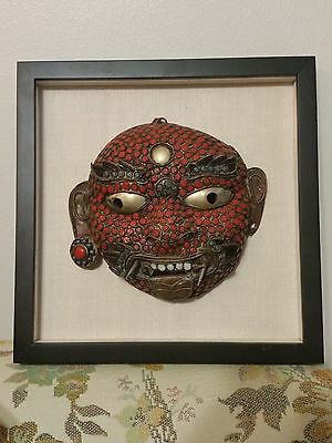Tibet Himalaya Buddhist Mask Gallery Framed Beaded Coral Turquoise Copper Ornate