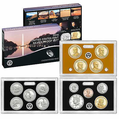 USA Mint SILVER proof SET 2014 with QUARTER & DOLLAR 2014