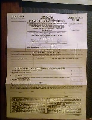 Vintage 1942 Form 1040A Optional United States Individ Income Tax Form & Docs