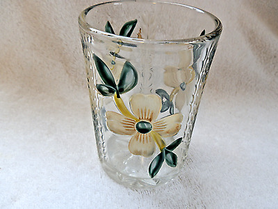 Victorian Glass Tumbler With Enameled Flowers