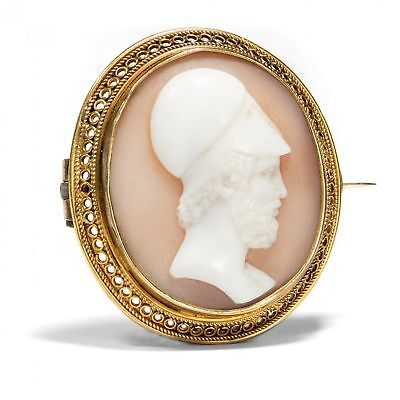 Um 1875: Antike Gemme des PERIKLES, Gold Brosche, Kamee Victorian Pericles Cameo