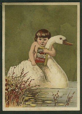 Lavine for Washing soap trade card 1880s Hartford Chemical CT child rides swan