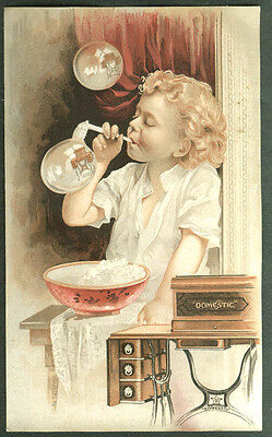 Domestic Sewing Machine trade card child blows bubbles with machine inside