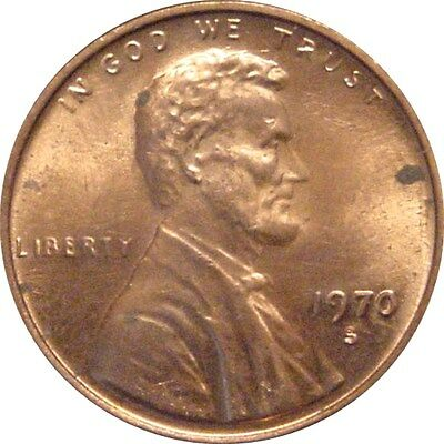 1970-S Lincoln Cent--Small Date--Mostly Red UNC