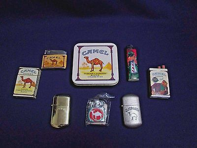 Vintage Lot of 8 Cool Joe Camel Cigarette Lighters & 1 Tin