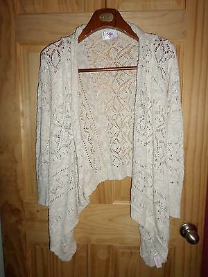 Justice Off White & Gold Cardigan Sweater Girls 16