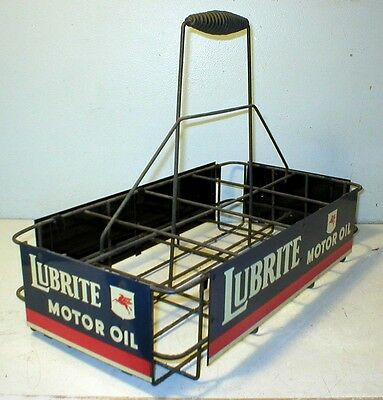 Lubrite Oil Bottle Carrier With All Four Excellent Tin Signs Socony Mobil