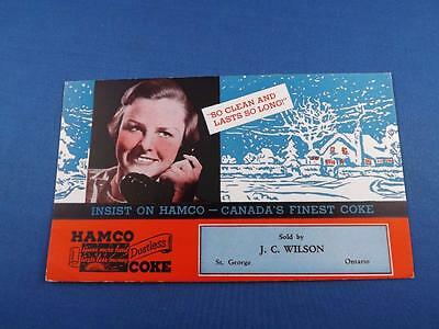 Ink Blotter Hamco Canada's Finest Coke J.c. Wilson St. George Ontario Advertise