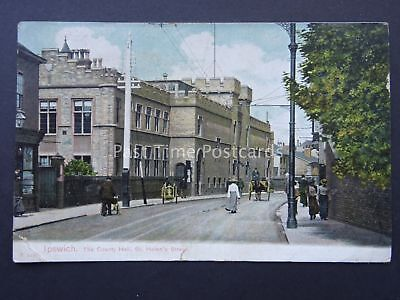 Suffolk IPSWICH St. Helens Street THE COUNTY HALL c1908 Postcard
