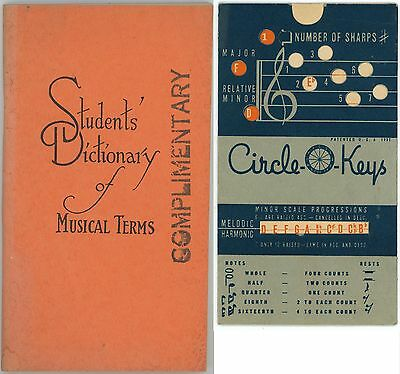 Vintage STUDENTS DICTIONARY of MUSICAL TERMS & Circle-O-Keys Scale Progressions