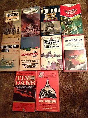 lot of 10 Vintage Military WWII Paperback Pulp Books The Longest Day Dam Busters