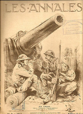 1917 Original Era Cover Page Of A Wwi French Magazine With Soldiers & A Cannon