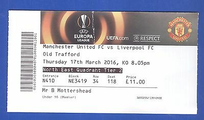 Manchester United v Liverpool FC Europa League 2016 TICKET