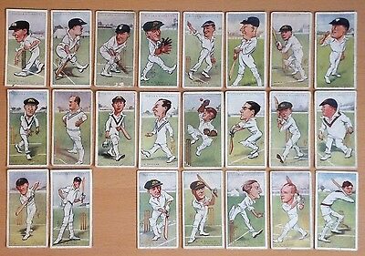 JOHN PLAYER, CRICKETERS Caricatures by RIP 1926. 42 cards from the set of 50.