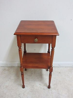 Antique Cherry Spindle Carved One Drawer Lamp End Table Pedestal