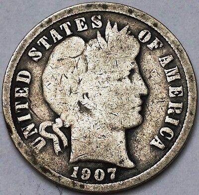 1907-S Barber 90% Silver Dime, 10 Cents - Free Combined S/H