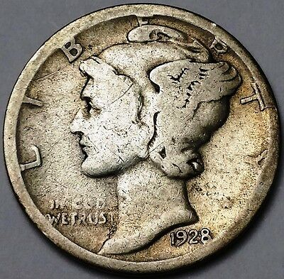 1928-D Mercury 90% Silver Dime, 10 Cents **SEMI KEY DATE**  Free Combined S/H