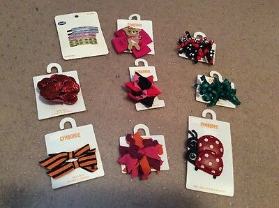 New GYMBOREE 9 Packs Kids Girls Hair Accessory Lot Curly Ribbons Bows Clips Pony