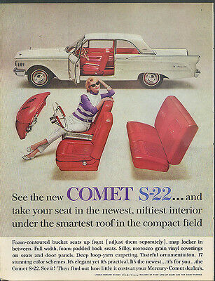 Take your seat in newest niftiest interior Mercury Comer S-22 ad 1961