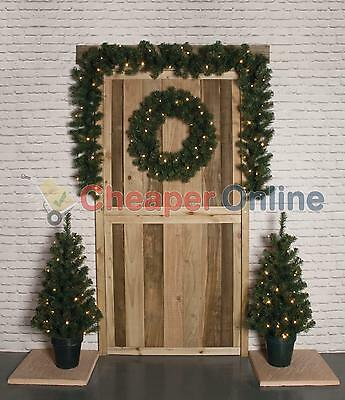 4 Piece Pre Lit Door Christmas Decoration Kit with Trees, Wreath and Garland