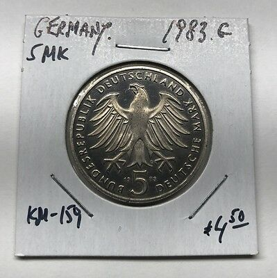 1983-G Germany 5 Mark Martin Luther Km#159