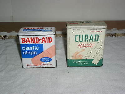 Lot of 2 vintage 60's Band Aid & Curad
