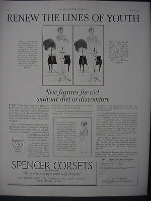 1925 Spencer Corsets Renew the lines of Youth Fashion Vintage Print Ad 11875