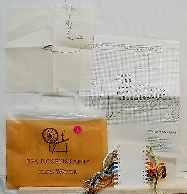 """""""Grey duck"""" cocktail napkin Eva Rosenstand counted cross stitch kit started"""