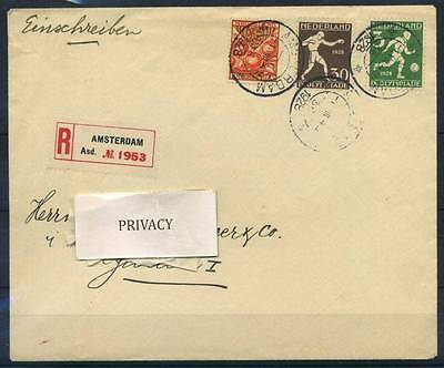17-02-00048 - Netherlands 1928 Mi.  207C, 212A COV 100% Cover Registered, Olympi
